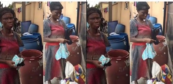 Elderly woman caught stealing panties and pads from a dustbin