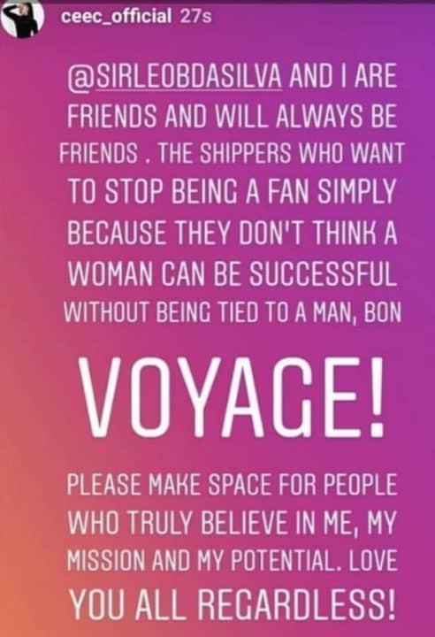 BBNaija star Cee-c finally shuts down dating rumors with Leo
