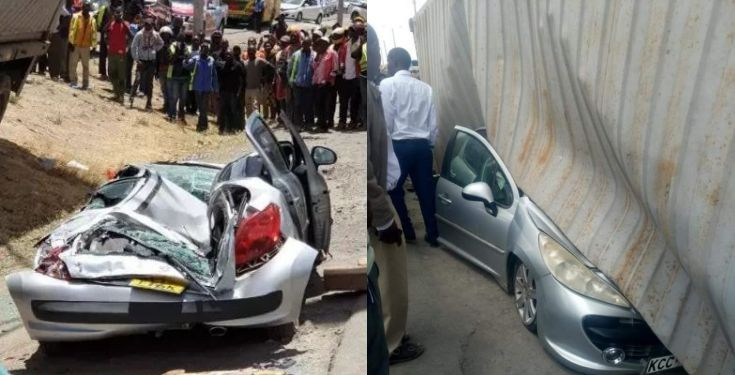Container falls on woman's car moments after stepping out with her baby (Photos)