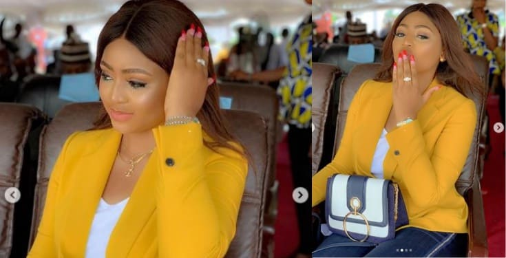 Fans drag Regina Daniels for cropping her 59-year-old husband from photo