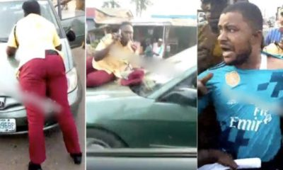 LASTMA Officer screams, as driver speeds off with her on the bonnet (Video)
