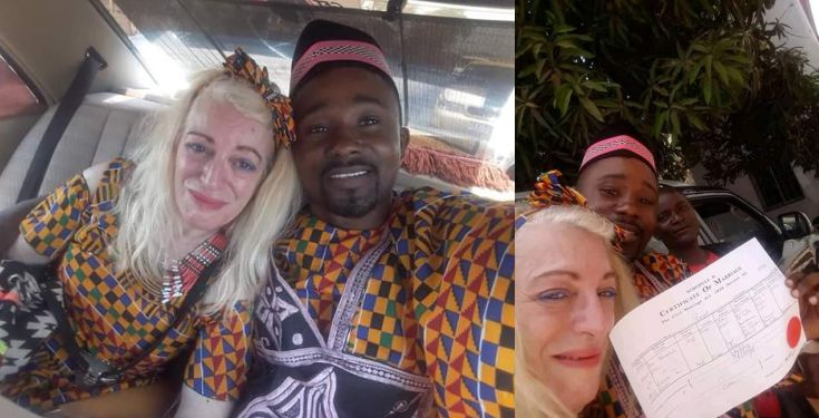 "Man thanks God for giving him a ""woman of honour"" as he weds white woman (Photos)"