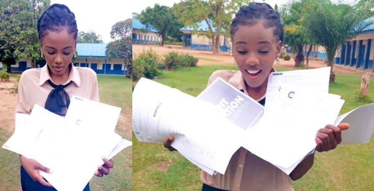 Nigerian Lady poses with 10 admission letters from 10 foreign universities