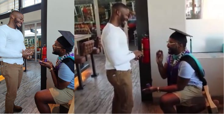 Nigerian man gets down on one knee to propose to boyfriend (Video)