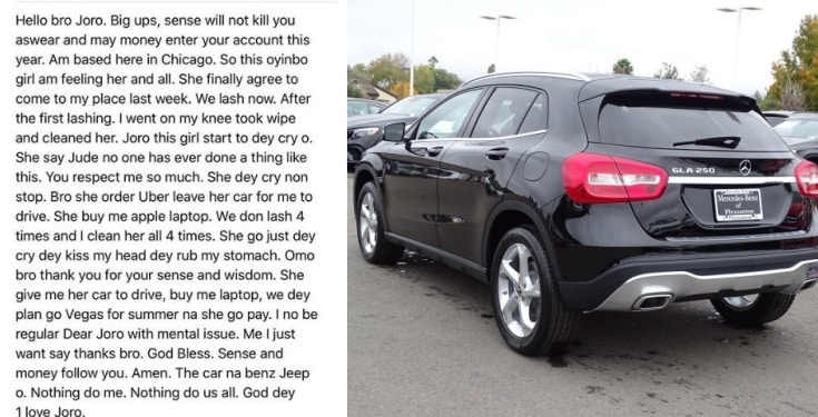 Nigerian man gifted a Benz and an Apple laptop for cleaning up a girl after lashing