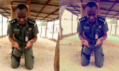 Nigerian soldier seen praying after returning safely from fighting Boko Haram
