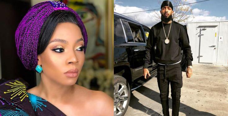 Nigerians Slam Toke Makinwa For Mourning Us Rapper, Nipsey