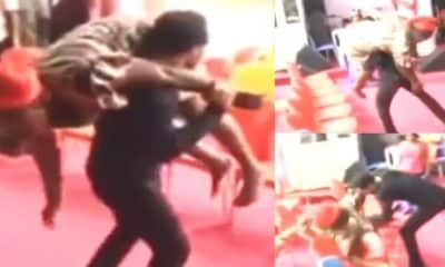 Pastor Chukwuemeka Odumeje body slams a disabled woman ontop of chairs (Video)