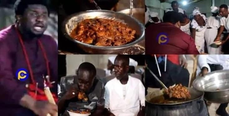 Pastor shares fufu and cow meat soup after church service (Video)
