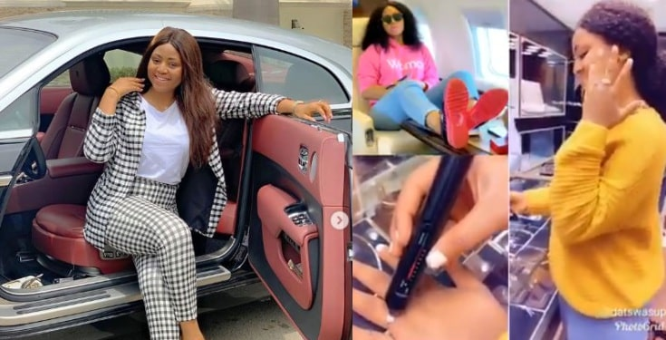 Regina Daniels seen testing the authenticity of her diamond ring (video)