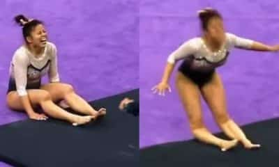 Shocking moment US gymnast breaks both legs while competing (video)