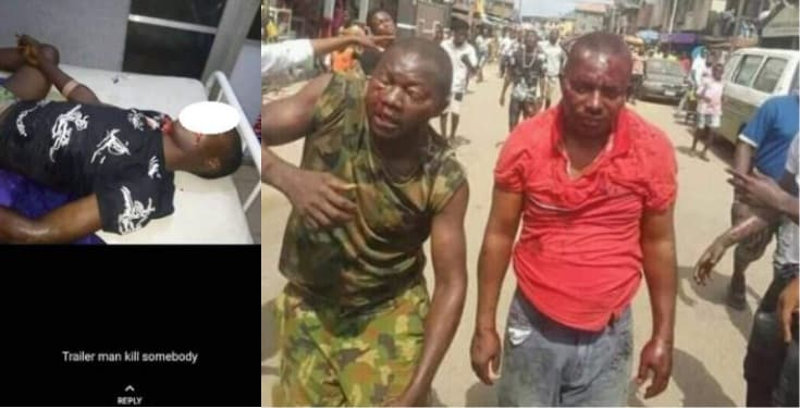 Soldier beaten to a pulp for preventing jungle justice (Photos)