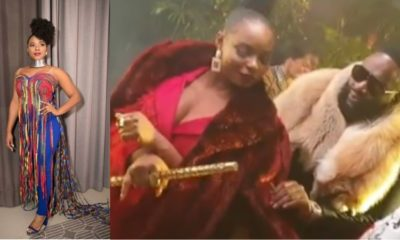Watch as singer, Yemi Alade teach Rick Ross 'shaku shaku'