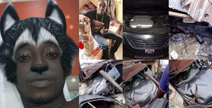 Young boy celebrates as he wrecks his car a day after buying it in Delta State (Photos)