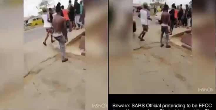 LASU students allegedly harass a SARS officer pretending to be EFCC