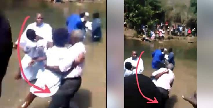 Lady attacks pastor and drags him into the river during church baptism