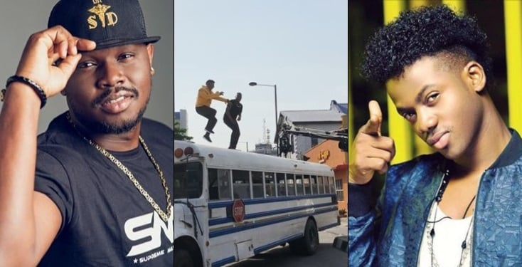Moments Dr Sid and Korede Bello nearly fell off the top of a bus while shooting a video