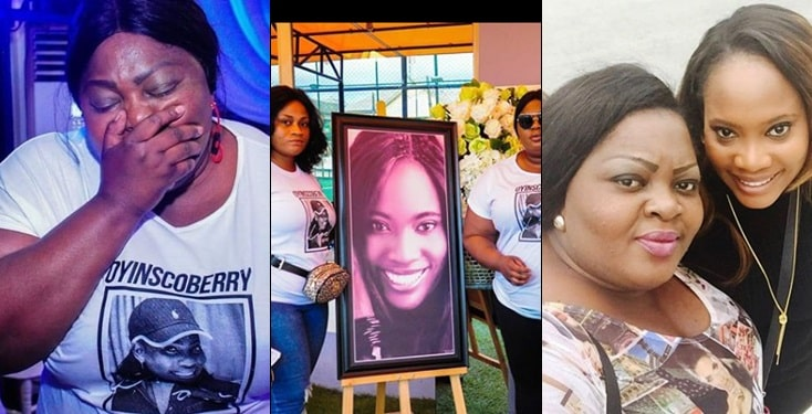 Nollywood actress Eniola Badmus in tears as she buries friend (photos)