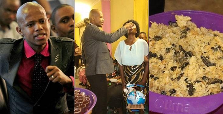 Pastor Mnguni feeds members with rice & worm