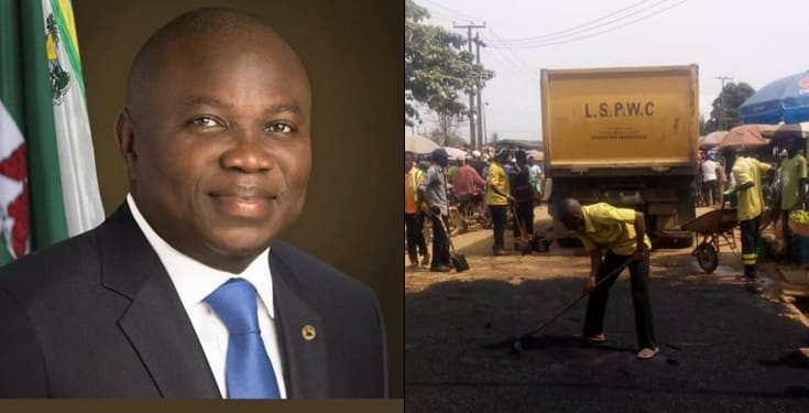 Governor Ambode begins fixing of potholes on 87 major roads in Lagos
