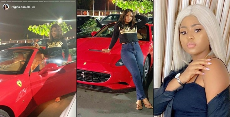 Regina Daniels Now A Proud Owner Of Ferrari Car After Her Marriage To Ned Nwoko