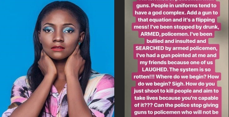 Drunk and armed policemen once pointed a gun at me  – Simi shares her story on police brutality