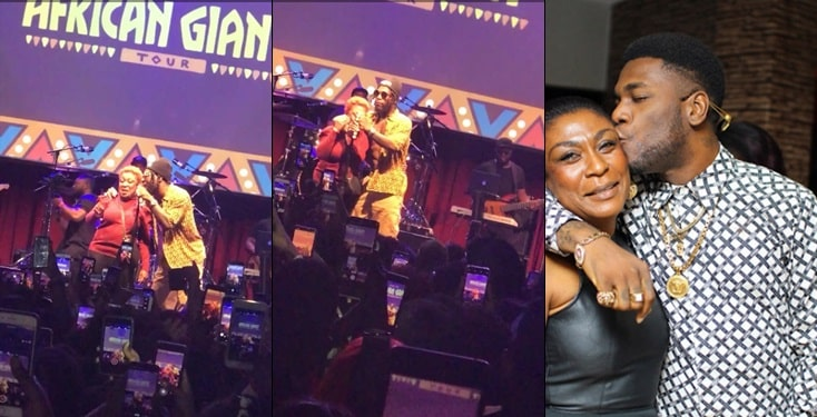 "Burna Boy Brings Out Mum To Perform ""Dangote"" Live On Stage"