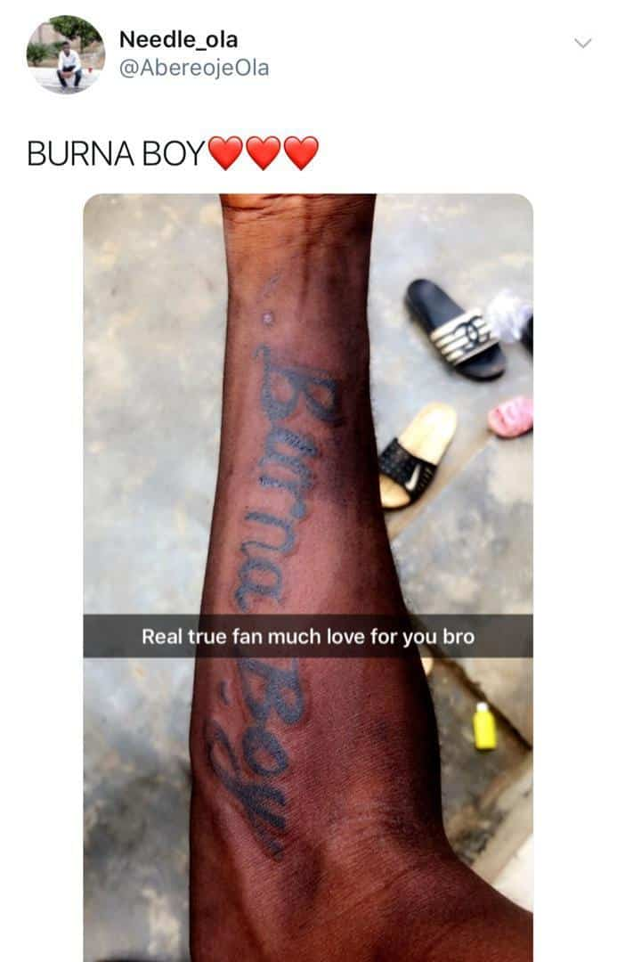 Burna Boy tattoo