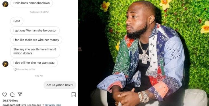 Davido shares message he received from an internet fraudster