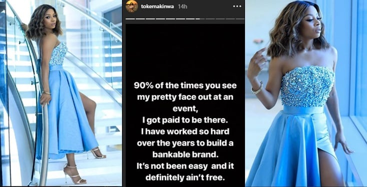 """I get paid to attend events 90% of the time""- Toke Makinwa"