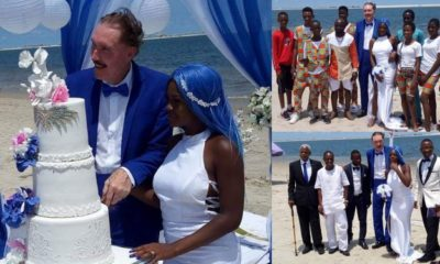 Lady gets married to an elderly White man at a beach in Lagos (photos)