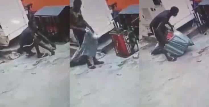 Man caught on CCTV stealing generator In Lagos (Video)