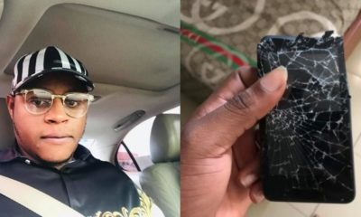 Nigerian lady breaks her phone after she was caught cheating