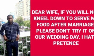 Nigerian man cautions his future wife on kneeling to serve him food