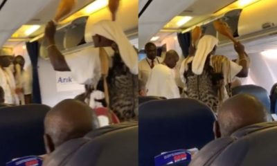 Nigerians plead the blood of Jesus on plane as Ooni of Ife's diviner performs traditional rite (video)