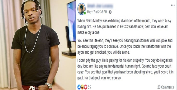 People hailing you have now abandoned you – Man mocks Naira Marley