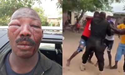 Police brutality: Aggrieved residents retaliate by battering an officer (Video)