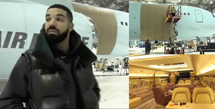 """Rapper Drake shows off his new private plane named """"Air Drake"""" (Video)"""