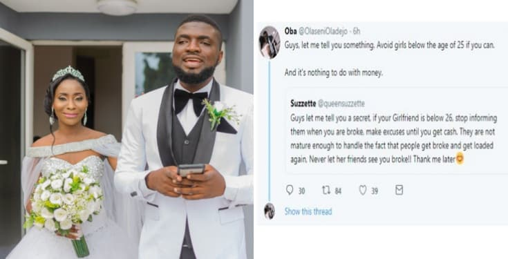 Stay away from ladies below the age of 25 – Newly wedded man advises