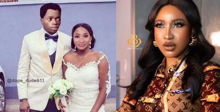 Tonto Dikeh shares photoshopped image of her getting married to Bobrisky