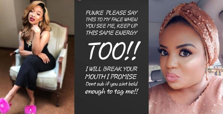 Tonto Dikeh vows to beat up actress Funke Adesiyan