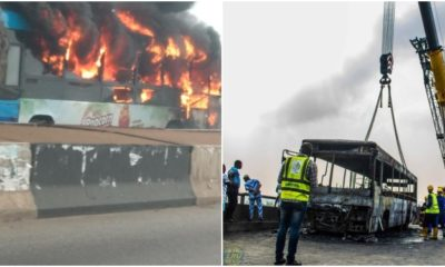 Fire destroys BRT bus on 3rd mainland bridge Lagos