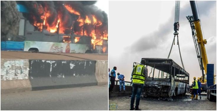 Fire destroys BRT bus on 3rd mainland bridge Lagos