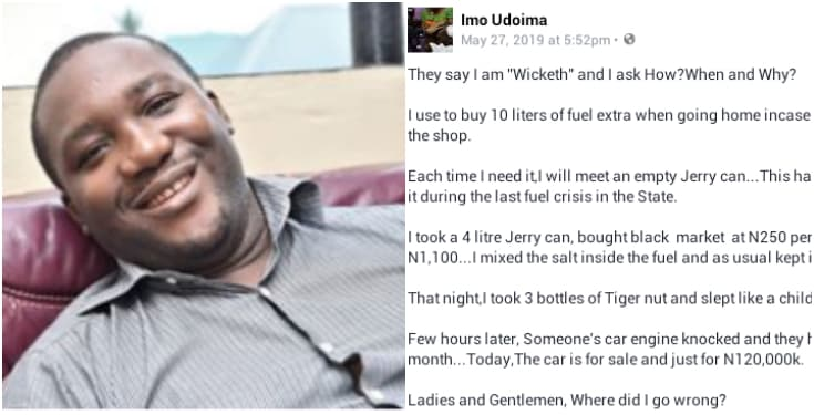 Nigerian man narrates how he made his neighbour to sell his car after stealing his fuel