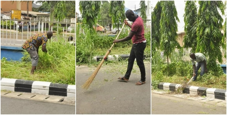 Traffic defaulters cutting grass and sweeping in Edo state