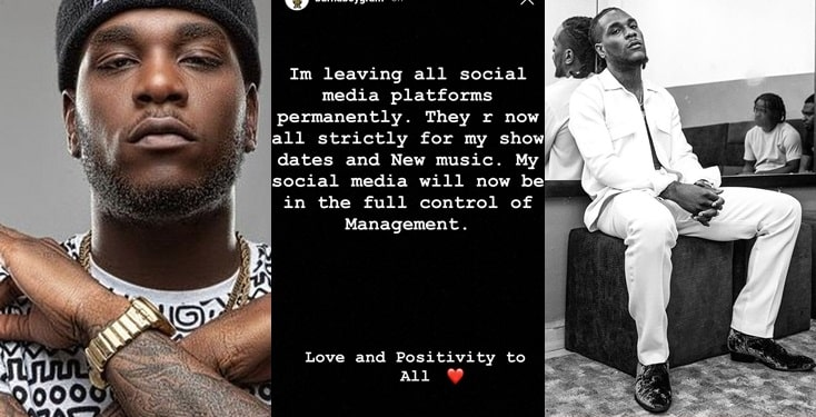 Burna Boy announces he's leaving social media