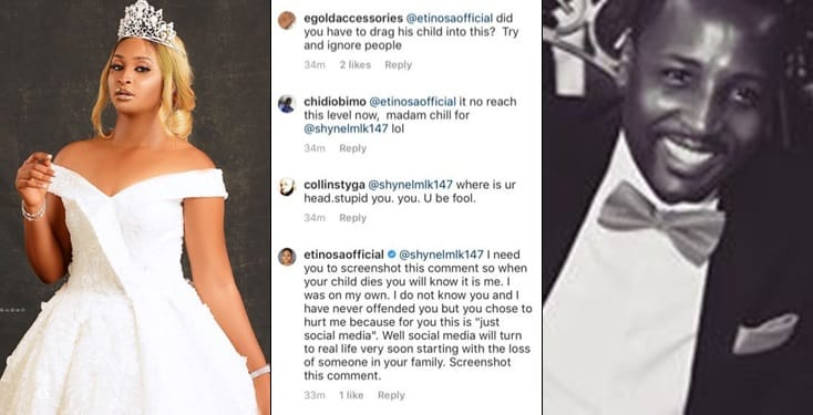 Your child will die before the end of this month- Etinosa lay curse on troll who mocked her on IG