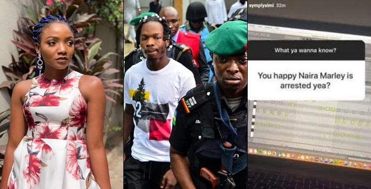Simi has finally spoken about Naira Marley's arrest