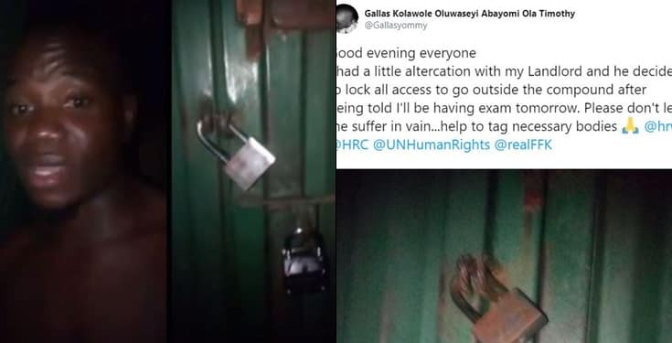 Nigerian student cries for help after his landlord locked him at home