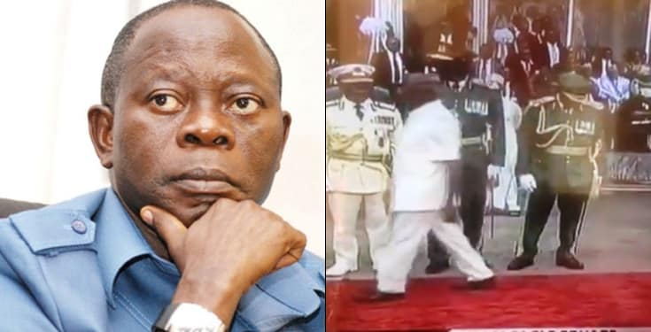Adams Oshiomole chased away by Security at Presidential Inauguration
